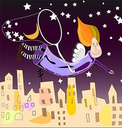 Night fairy in the city vector