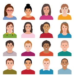 Set of avatars children in a flat style icons vector image