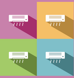 Air conditioning icon with shade on colored vector
