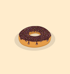 donut with chocolate icing and sprinkles vector image