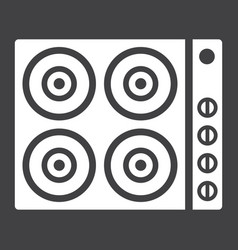 Electric hot plate glyph icon electrical stove vector