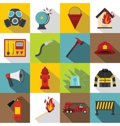 Fireman tools icons set flat style vector image vector image