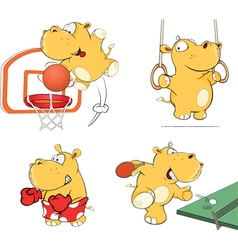 set of hippos cartoon vector image