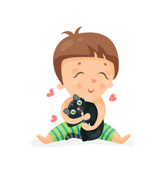 adorable cartoon toddler baby hugging a black vector image
