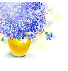 bluebottle bouquet in yellow vase vector image