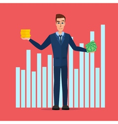 Businessman hold money banknotes and coins vector