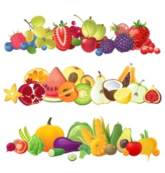 fruits vegetables and berries borders vector image vector image