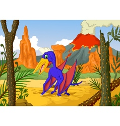 funny pterodactyl cartoon with volcano vector image