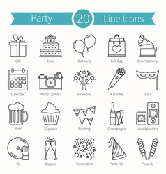 20 Party Line Icons vector image
