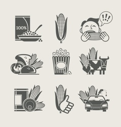 Corn and products set icon vector