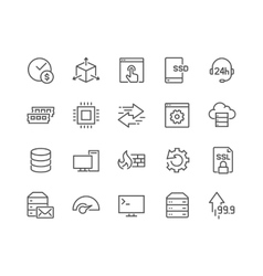 Line Hosting Icons vector image vector image