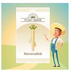 Pack of horseradish seeds icon vector