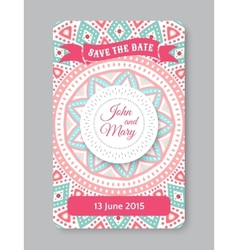 Perfect wedding template with doodles tribal theme vector image vector image