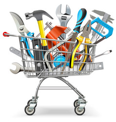 supermarket trolley with hand tools vector image