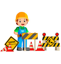 worker with construction sign vector image vector image