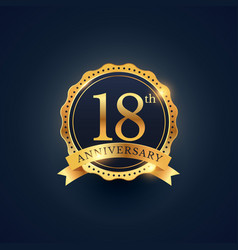 18th anniversary celebration badge label in vector