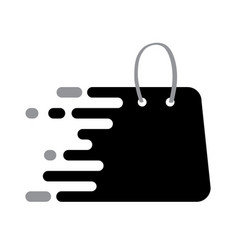 Abstrack black logo shopping bag icon with plack vector