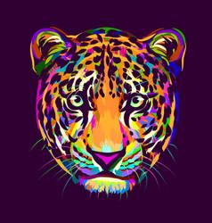 abstract multi-colored portrait a jaguar looki vector image