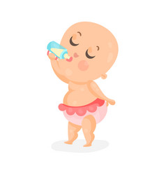 Adorable cartoon baby girl drinking milk in a vector