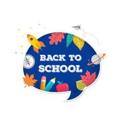back to school speech bubble with many education vector image