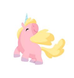 beautiful pink unicorn cute magic fantasy animal vector image