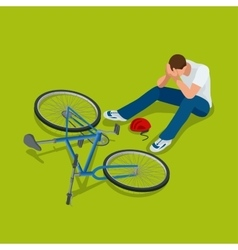Bicycle accident Man falls off his bicycle Flat vector
