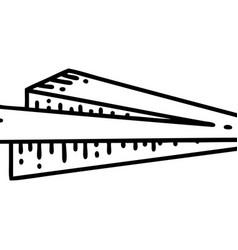 Black line tattoo a paper aeroplane vector