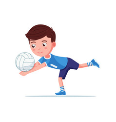 boy volleyball player plays with ball vector image