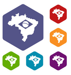 Brazil map with flag icons set hexagon vector