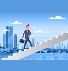 business man walking stairs up over modern city vector image
