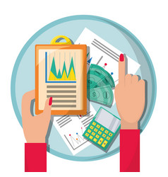 Businesswoman checking the financial documents vector
