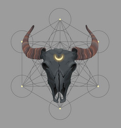 card with bull skull and sacred geometry vector image