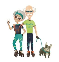 Cartoon active old couple man and woman doing vector