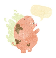 cartoon fat smelly pig with speech bubble vector image