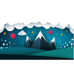 cartoon paper landscape mountain flower cloud vector image