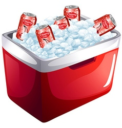 Cherry soda cans in ice box vector