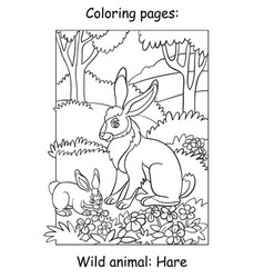 Children coloring book page hares vector