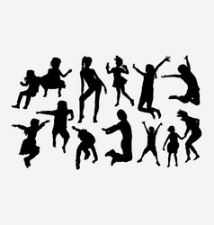 children happy playing silhouette vector image