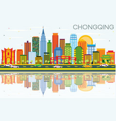 Chongqing skyline with color buildings blue sky vector
