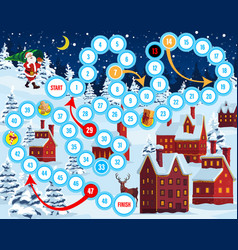 christmas eve board game with santa and houses vector image