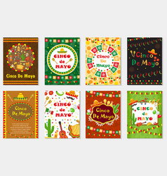 cinco de mayo set greeting card template vector image
