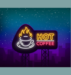 Coffee neon signboard logo glowing emblem vector