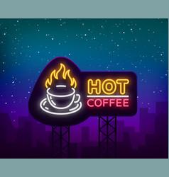 coffee neon signboard logo glowing emblem vector image