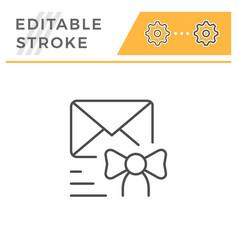 congratulations sending editable stroke line icon vector image