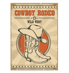 Cowboy rodeo posterWestern vintage with text vector image