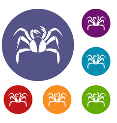 Crab sea animal icons set vector