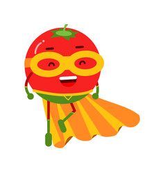 Cute cartoon smiling tomato superhero in mask and vector