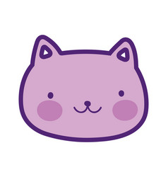 Cute cat face happy cartoon design vector