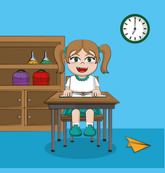 Cute student girl in classroom vector