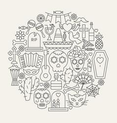Dia de los muertos line icons circle vector